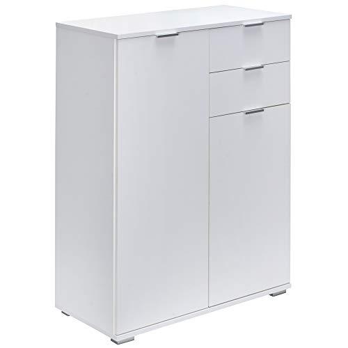 Deuba Cómoda Sideboard Alba Blanca con 2 Puertas 2 cajones y 2 estantes Ajustables Armario Multiusos Mueble aparador