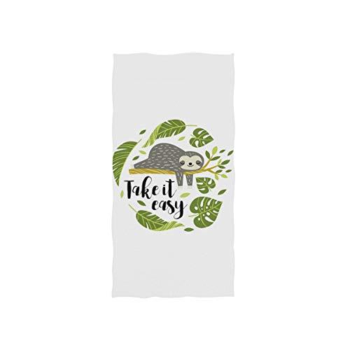 MyDaily Mikrofaser-Handtuch, süßes Faultier-Handtuch, schnell trocknend, für Sport, Fitness, Schweiß, Gesichtshandtuch, 38,1 x 76,2 cm