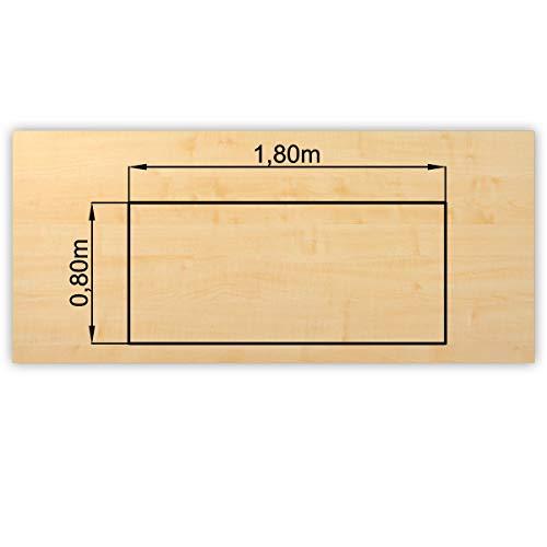 Bümö® stabile Tischplatte 2,5 cm stark - DIY Schreibtischplatte aus Holz   Bürotischplatte belastbar mit 120 kg   Spanholzplatte in vielen Formen & Dekoren  Platte für Büro, Tisch & mehr (Rechteck: 180 x 80 cm, Ahorn)