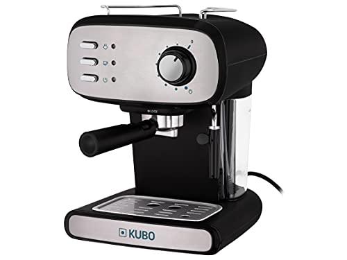 KUBO Cafetera Manual Expresso, Cappuccino, 15 bar de presión, Depósito de agua 1.2L, 850 W, Apto para bebidas con leche, Limpieza Fácil