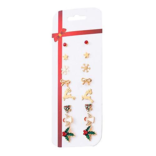 Nobranded Pendientes Colgantes con Forma de Gota Festiva Navideña de 16 Piezas, Conjunto Seguro de Llevar - Style_A, Individual