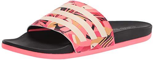 adidas Women's Adilette Comfort Water Shoe, Black/Linen/Signal Pink, 9