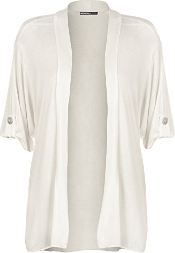 New Ladies Plus Size Short Sleeve Button Open Cardigan Womens Stretch Top White 22/24