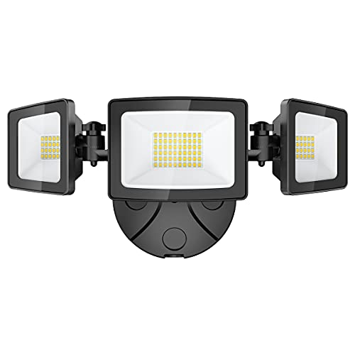 Onforu 50W LED Security Light, 5000LM Super Bright Outdoor Flood Light Fixture with 3 Adjustable Heads, IP65 Waterproof, 5000K White Wall Mount Security Light for Eave, Yard, Exterior Garden, Porch