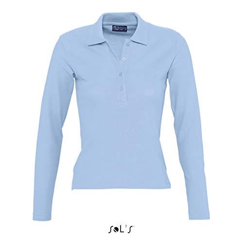 Sols - Podium - Damen Poloshirt Langarm , Sky blue , M