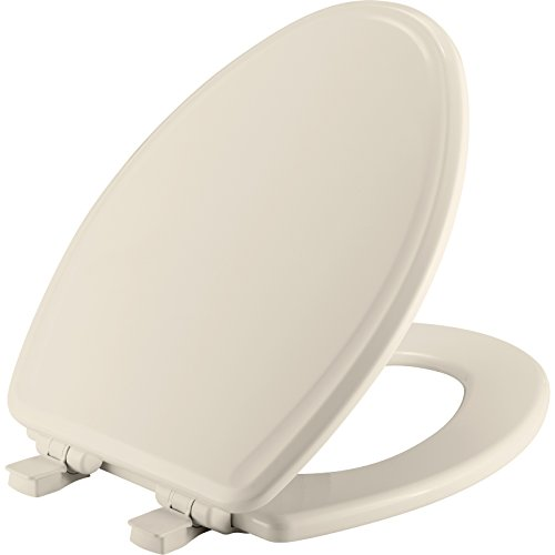 MAYFAIR 1848SLOW 346 Toilet Seat will Slow Close, Never Loosen and Easily Remove, ELONGATED, Durable Enameled Wood, Biscuit/Linen
