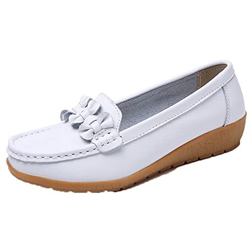 Zapatos Casuales Planos para Mujer Zapatos de mocasín de Primavera y Verano de Moda de Ocio Zapatos de mocasín de Punta Redonda con Parte Superior Baja Suave Zapatos Fuera de Uso