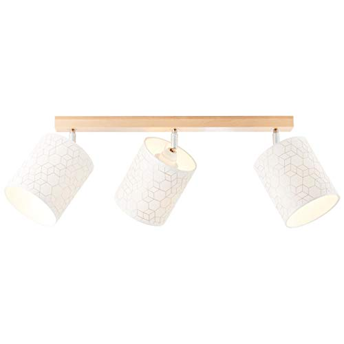 BRILLIANT Galance Spotbalken 3flg holz hell/weiß Innenleuchten,Strahler,-Balken | 3x A60, E27, 40W, geeignet für Normallampen (nicht enthalten) | A++ | Edler Strukturschirm aus echter Vinyl-Tapete