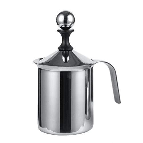 ypypiaol 400/800 Ml Doppelschicht Mesh Milchaufschäumer Mixer Kaffee Schäumer Home Kitchen Tool Nützlich Silber 400ml