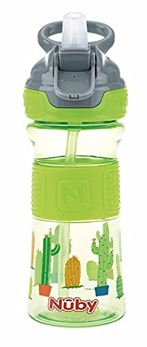 Nuby - Flip-It Drinking Straw Cup Made of Tritan with Silicone Grip - 360 ml - 3 Years +, Green, 170 g
