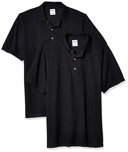 Gildan Men's Ultra Cotton Pique Sport Shirt, 2-Pack, Black, Large