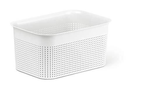 Rotho Brisen Aufbewahrungsbox 4,5 l mit Lochmuster, Kunststoff (PP), weiss, 4,5 Liter (26,2 x 18 x 13 cm)