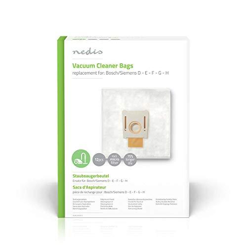 NEDIS Staubsaugerbeutel | 12 Stück Stück | Synthetik | Meist verkauft für: Bosch/Siemens | Weiss Weiss