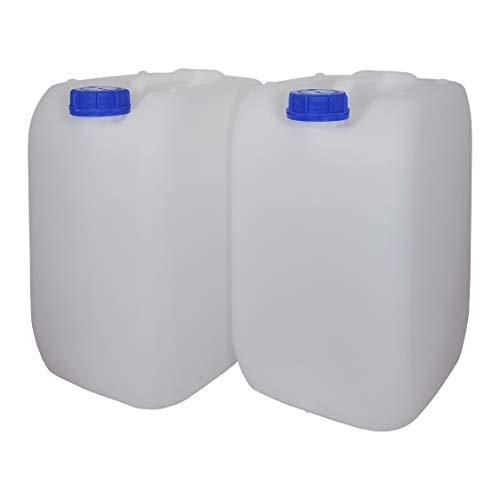 Bidón Garrafa Plástico 20 litros apilable. Apta para uso alimentario. Homologación para transporte. (2 Unidades).