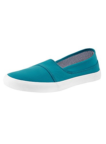 oodji Ultra Mujer Zapatillas Slip On Básicas de Algodón, Turquesa, 36 EU / 3.5 UK
