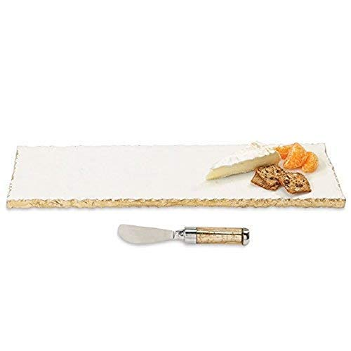 Mud Pie Marble and Gold Edge Hostess Set Serving Platter, One Size, White