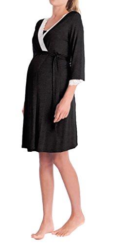 Morgenmantel Damen Umstandsmode Nachthemd Elegant 3/4 Arm V-Ausschnitt Spitze Spleiß Mädchen Kleidung Mit Gürtel Kurz Bademantel Umstands Pyjama Nachtwäsche Schwangere ( Color : Schwarz , Size : M )