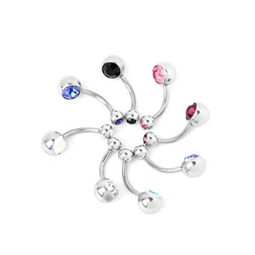 Pixnor 8pcs couleurs femmes boucles d'oreilles nombril anneaux goujons Kit de piercing
