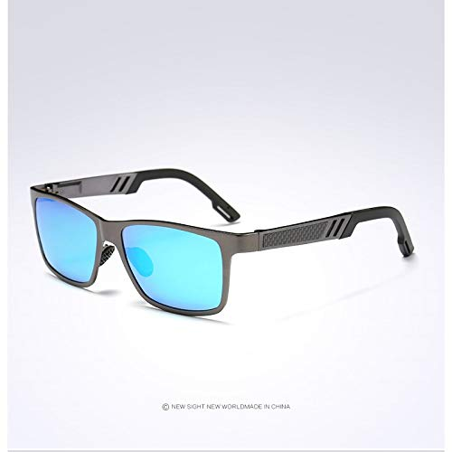 Men Retro Square Polarized Sunglasses Women Luxury Eyewear Driver Metal Hd Goggles Grey-Bluelens