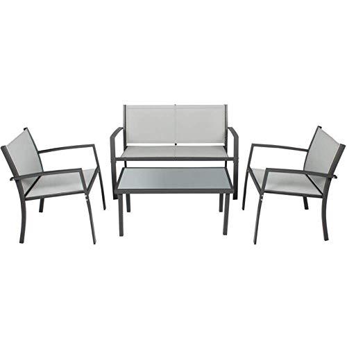 Luxurygarden Set Salotto da Giardino, Tavolo e Sedie e Poltrona da Esterno, in Acciaio Verniciato Design Moderno – 110x58x75h (Grigio)