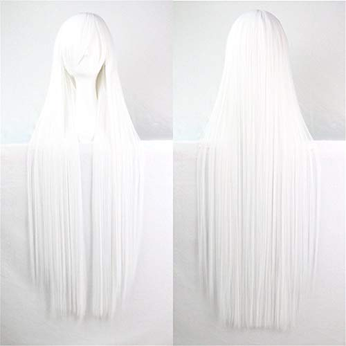 39' Womens Long Straight Synthetic Wig Halloween Cosplay Party Wig White