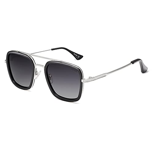 SOJOS Polarized Sunglasses for Men Women Retro Aviator Square Goggle Classic Alloy Frame HERO SJ1126 with Silver Frame/Black Rim/Gradient Grey Lens