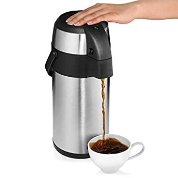 Airpot Coffee Dispenser with Pump/Stainless Steel Thermal Coffee Carafe - Three Liter  102 oz  Hot Beverage Dispenser with On/Off Pump Switch - Vacuum Insulated for the Ultimate Heat Retention