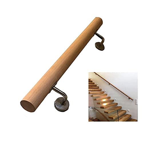 Barandilla, escalera de madera montada en la pared, madera de mano, madera maciza industrial con corchetes de escaleras de tubería de hierro forjado, barra de baño de baño para bar / loft / escaleras