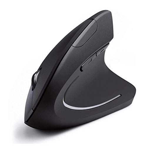 Rechargeable Vertical Mice Ergonomic Wireless Mouse, Vertical Mouse Ergonomic Design with 2.4G USB Receiver 3 Adjustable DPI 800/1200/1600 Levels 6 Buttons for Computer, Laptop, Notbook,PC, MacBook
