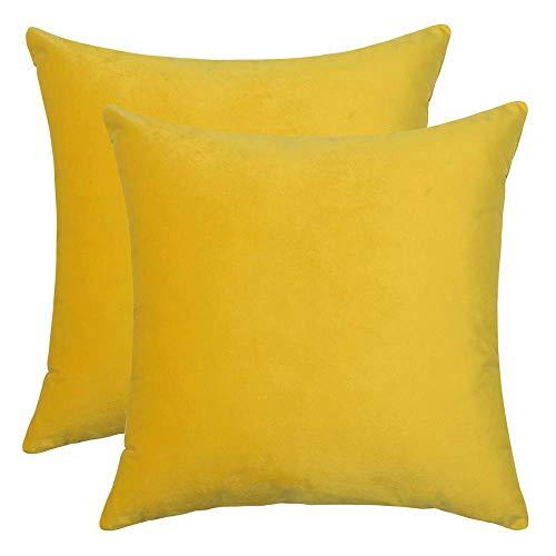 BlueCosto (2_Amarillo Terciopelo Fundas de Cojines Funda de cojín para sofá...