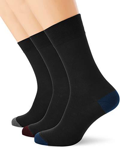 Dim Mi-chaussette Mix & Match Coton Style X3 Calcetines, Multicolor (Trio Noir/Bleu Cobalt 5dc), 39/42 (Pack de 3) para Hombre