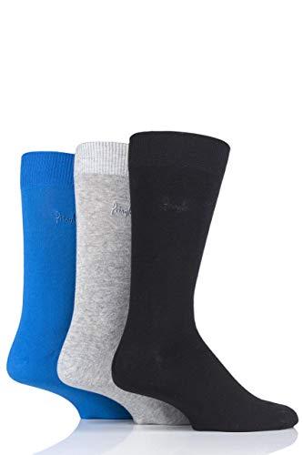 Pringle Mens 3 Paar Endrick Plain Hosen Socken Schwarz/Blaugrün 41-46