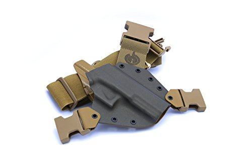 GunfightersINC Kenai Chest Holster for Glock 20/21/40 MOS, MAS Grey/Coyote, Right Hand