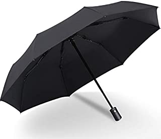 SODIAL Black Coating Rain Sun Automatic Umbrella Anti-UV 3 Folding Wind Resistant Auto Big Windproof Women Men 8 Ribs Parasol