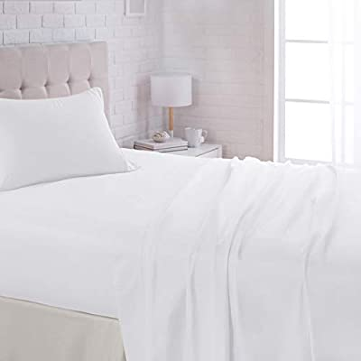 """AmazonBasics Lightweight Super Soft Easy Care Microfiber Sheet Set with 16"""" Deep Pockets - Twin, Bright White"""