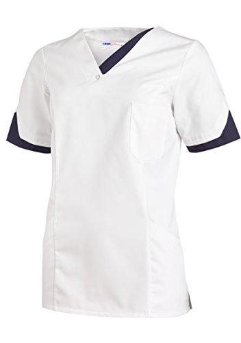 clinicfashion 12612051-1 Schlupfhemd weiß/Marine für Damen, Mischgewebe, Größe XL