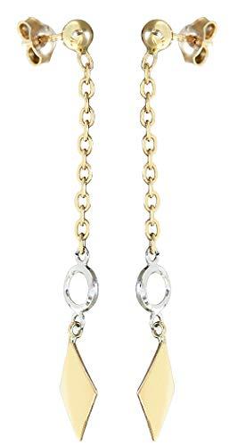 Hobra-Gold Pendientes oro 585 bicolor pendientes 5,5cm largos pendientes articulados 14k