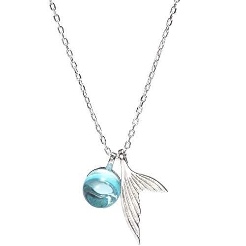 LEIYU Collar de sirena azul con colgante de sirena con forma de burbuja