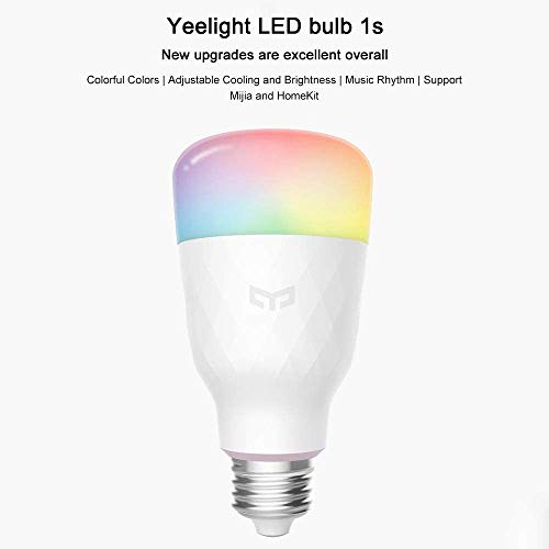 Yeelight 1S Wifi Bulb, 16 Million Colors Music Sync E27 8.5W RGB Dimmable 800lm White Light Compatible With Alexa, Google Assistant, Homekit
