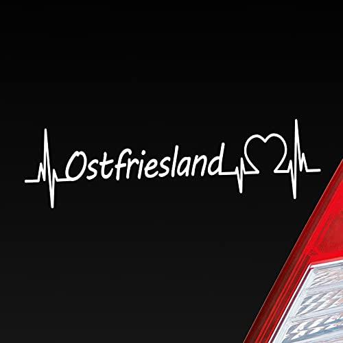 Hellweg Druckerei Auto Aufkleber Ostfriesland Puls Herzschlag Fun Sticker Heckscheibenaufkleber Autoaufkleber mit Ferien Region Motiv