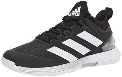 adidas Men's Adizero Ubersonic 4 Racquetball Shoe, Black/White/Silver Metallic, 9.5
