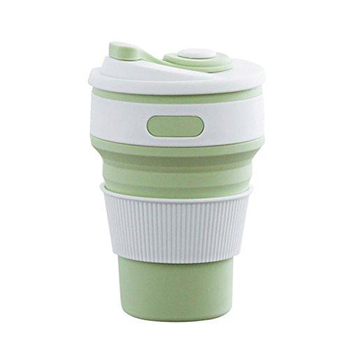 Young baby Tasse à café Pliable - protable Silicone Tasse à café 350ML-6 Couleurs (Color : Green)