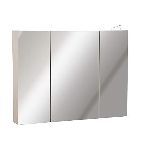 kleankin 36' x 24' Triple Door LED Bathroom Mirror Medicine Cabinet - White Oak