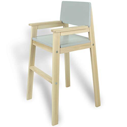 Kinderstoel hoge stoel massief hout beuken natuur & grijs. Modern design. Trapstoel beuken voor eettafel, kinderhoge stoel voor kinderen, stabiel en onderhoudsvriendelijk, vele kleuren mogelijk