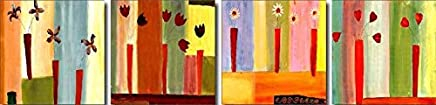 $50-$800 Handmade Oil Painting by College Teachers - agp0439 Abstract Flowers Group Canvas Art Set-Panels for Home Wall Decor -Size 03