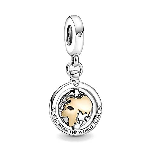 Pandora Fashion 925 Charm Spinning World Dangle Diy Bead Se Adapta A Pulseras Europeas Accesorios De Joyería