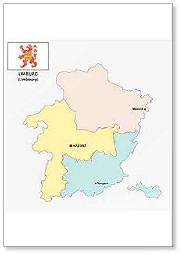 Administratieve en politieke kaart van de Belgische provincie Limburg met vlag koelkastmagneet