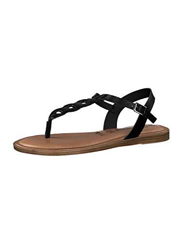 Tamaris 1-28181-34 Damen Sandalen Leder Zehentrenner, Größe:37 EU, Farbe:Schwarz