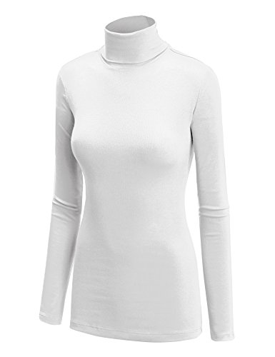 WT950 Womens Long Sleeve Turtleneck Top Pullover Sweater L White