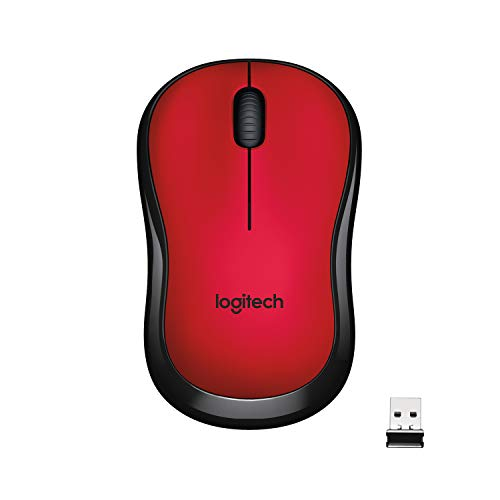 Logitech M220 Silent Kabellose Maus, 2.4 GHz Verbindung via Nano-USB-Empfänger, 1000 DPI Sensor, Quiet-Mark Zertifiziert, 18-Monate Akkulaufzeit, Für Links- und Rechtshänder, PC/Mac - rot